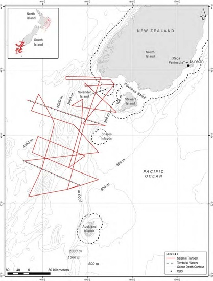 Survey locations off the South Island of New Zealand