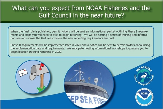 What can you expect from NOAA Fisheries and the Gulf Council in the near future? Feedback from Captains on the Development of For-Hire Reporting Requirements The Gulf of Mexico Fishery Management Council and NOAA Fisheries collaboratively hosted a series of eight workshops to engage federally permitted for-hire operators about the new electronic reporting requirements. Read a summary of the issues discussed at https://tinyurl.com/CaptainsMeetings When the final rule is published, permit holders will be sent an informational packet outlining Phase I requirements and steps you will need to take to begin reporting. We will be hosting a series of training and information sessions across the Gulf coast before the new reporting requirements are final. Phase II requirements will be implemented later in 2020 and a notice will be sent to permit holders announcing the implementation date and requirements. We anticipate hosting informational workshops to prepare you to begin location tracking reporting in 2020.