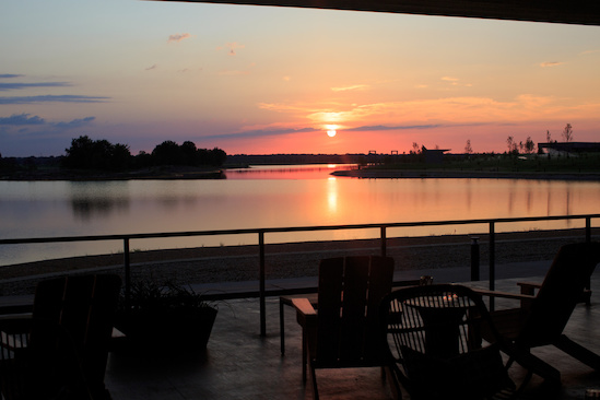 Sunset from the patio at The Kitchen, overlooking Hyde Lake.