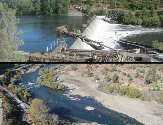 Before and after photos of the Gold Ray dam and the Rogue River after its removal.