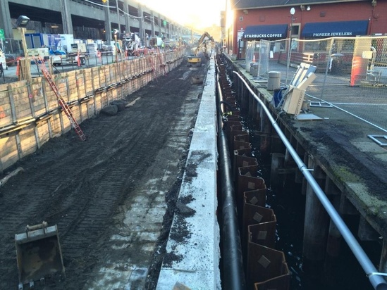 photo of earlier phase of seawall construction
