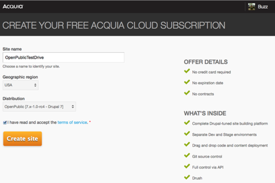 Create an Acquia Cloud Free account