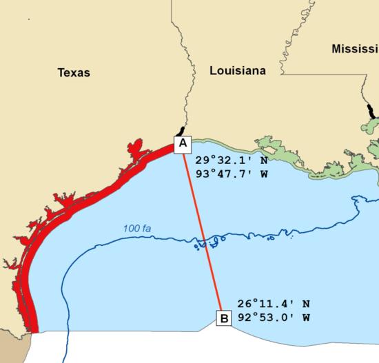 Image of the texas shrimp closure area