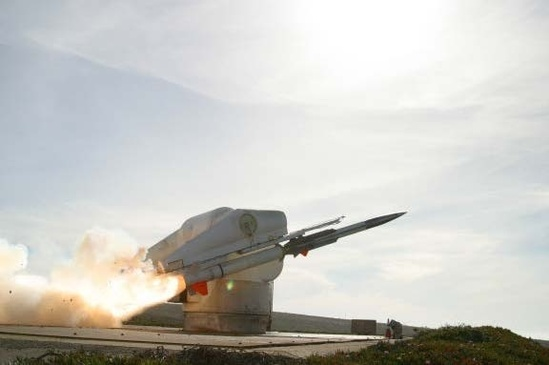 Photo of Coyote missile with booster and launcher at the Alpha Launch Complex on SNI
