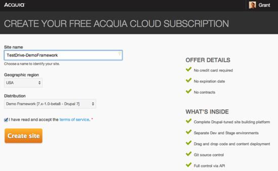Create an Acquia Cloud Free account