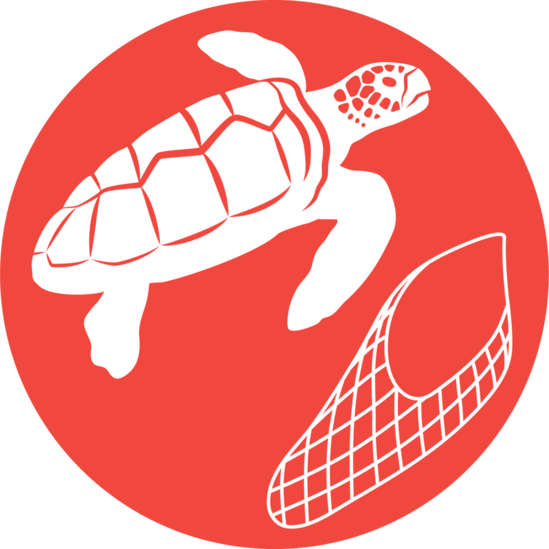 Small icon of loggerhead turtle next to a fishing net for reducing bycatch.