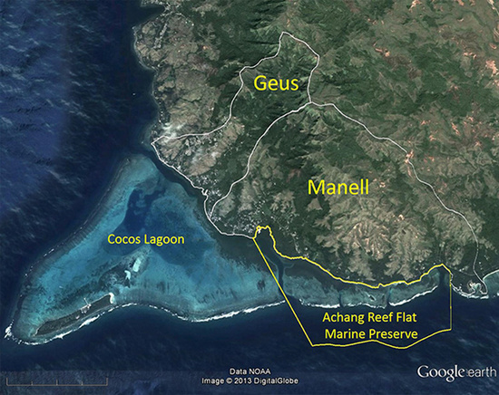 Google Earth map of the Manell-Geus Habitat Focus Area