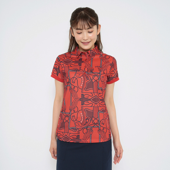 CALLAWAY スカーフプリントカノコ半袖シャツ (WOMENS)