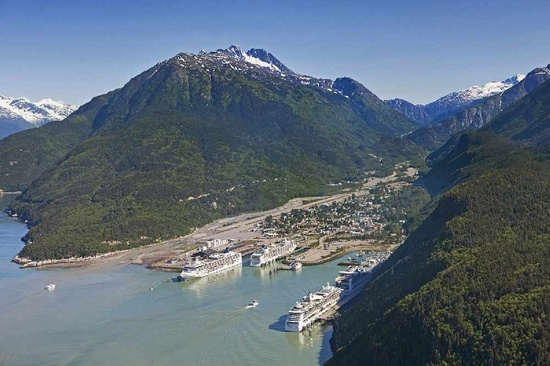 Photo of Skagway AK showing cruise ship docks and project area