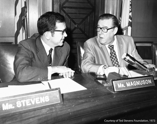 U.S. Senators Warren Magnuson (D-WA) and Ted Stevens (R-AK)