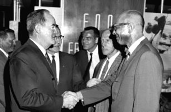 Campaign trail with Hubert Humphrey.
