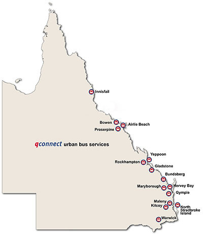 A map of the Queensland regionsl serviced by qconnect regional uurban bus services
