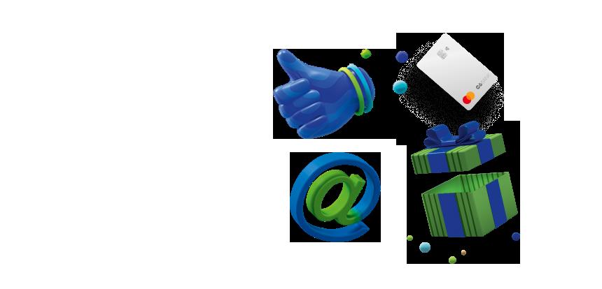 Ilustrações em 3D: uma mão fazendo sinal de ok e um sinal de @ nas cores azul e verde.